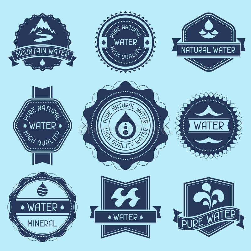 Ensemble de labels, d'insignes et d'autocollants de l'eau illustration stock