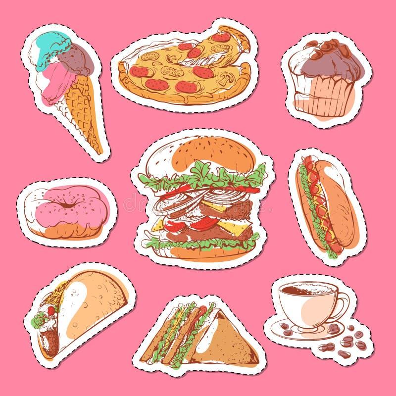 Ensemble de labels d'isolement d'aliments de préparation rapide illustration stock