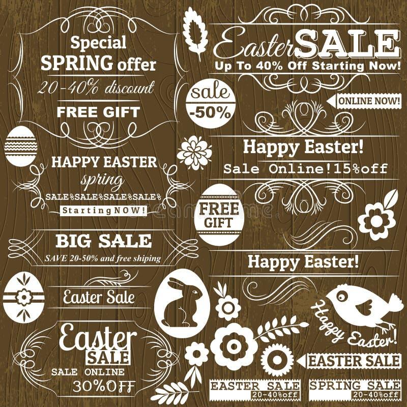 Ensemble de labels d'offre de vente de Pâques, vecteur