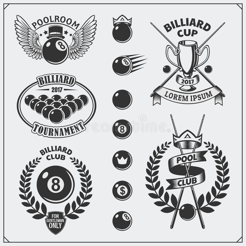Ensemble de labels de billards, d'emblèmes, d'insignes, d'icônes et d'éléments de conception illustration libre de droits