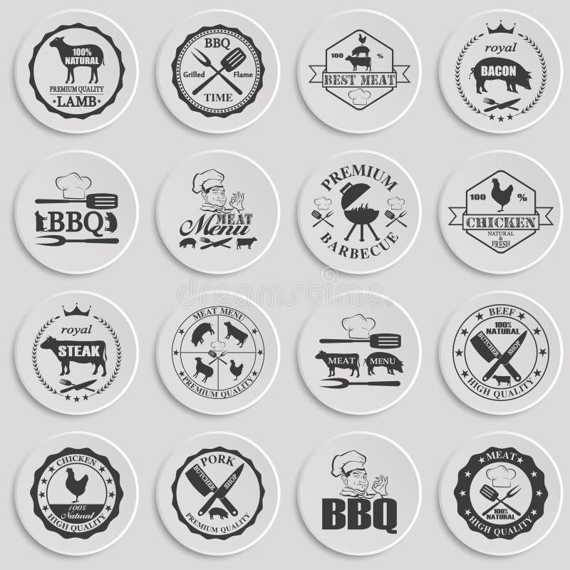 Ensemble de labels de boucherie illustration de vecteur