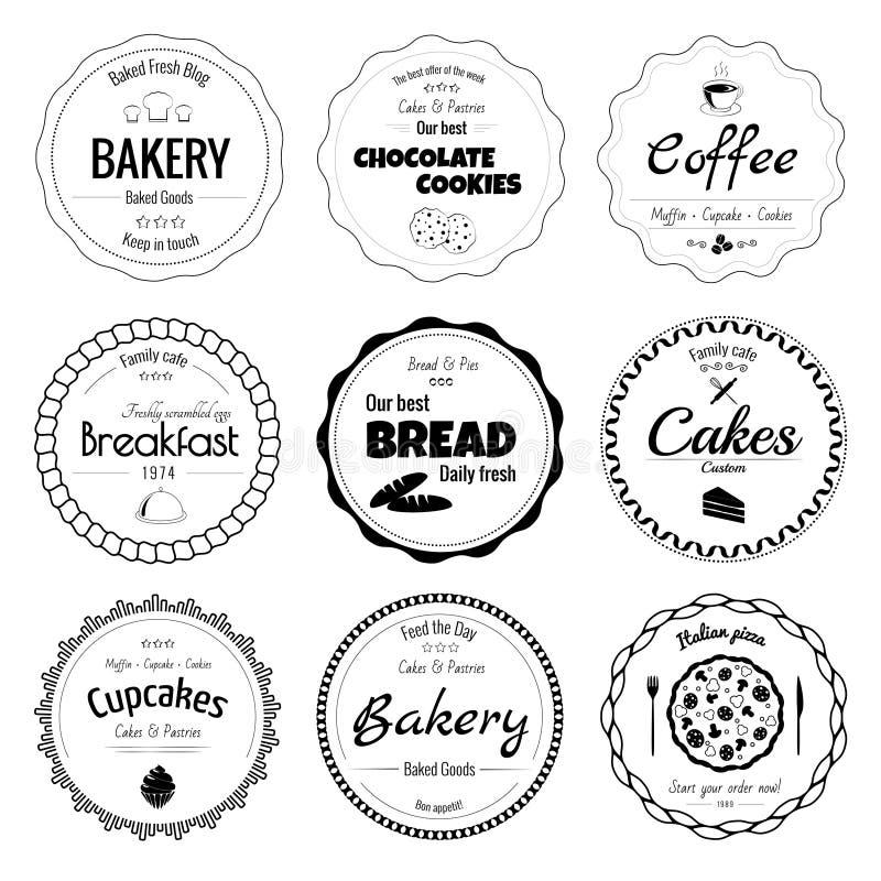 Ensemble de 9 labels de boulangerie de cercle illustration de vecteur