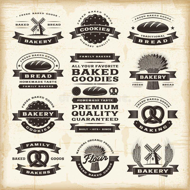 Ensemble de labels de boulangerie de vintage illustration de vecteur