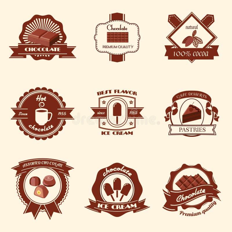 Ensemble de labels de chocolat illustration stock