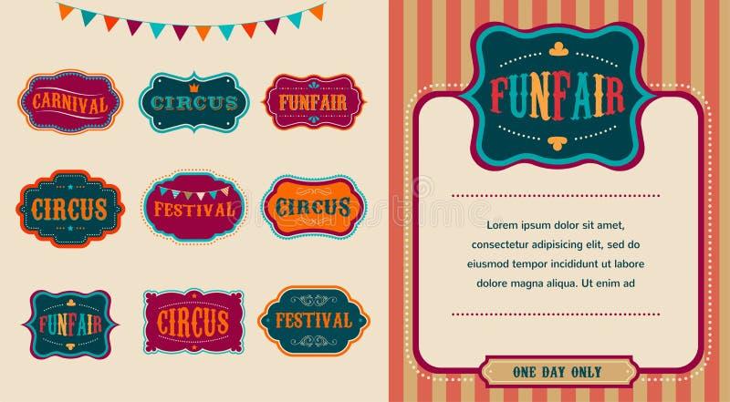 Ensemble de labels de cirque de vintage illustration de vecteur