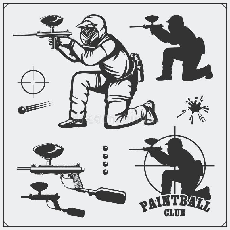 Ensemble de labels de club de paintball, d'emblèmes, de symboles, d'icônes et d'éléments de conception Homme de tir et équipement illustration libre de droits