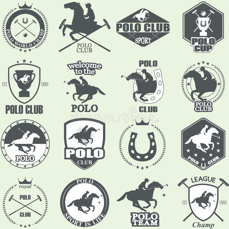 Ensemble de labels de club de polo de cheval de vintage illustration stock