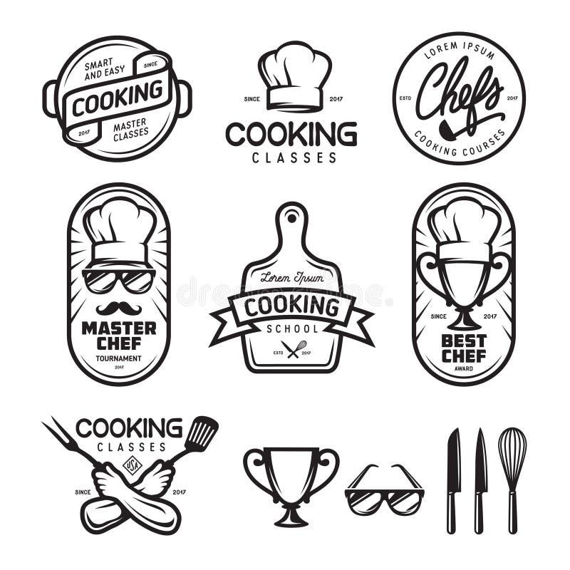 Ensemble de labels de cours de cuisine Illustration de vintage de vecteur illustration de vecteur