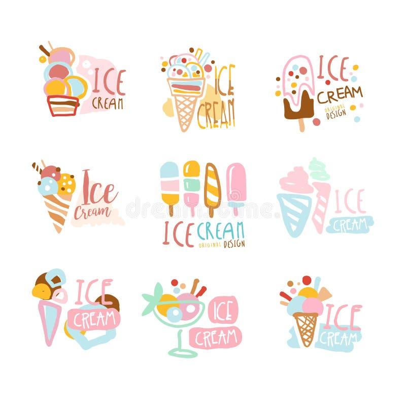 Ensemble de labels de crème glacée  Collection tirée par la main colorée de vecteur d'illustrations de crème glacée  illustration stock