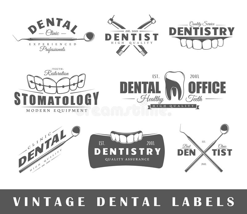 Ensemble de labels de dentiste de vintage photographie stock libre de droits