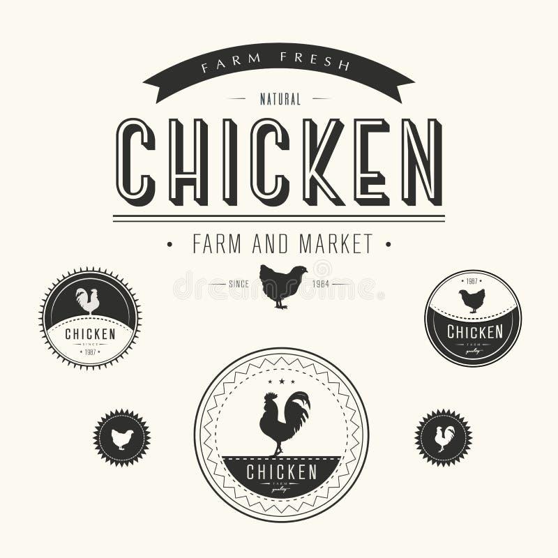 Ensemble de labels de ferme et de marché de poulet illustration de vecteur