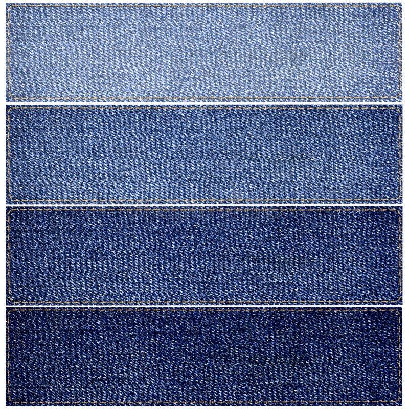Ensemble de labels de jeans de différentes couleurs photographie stock libre de droits