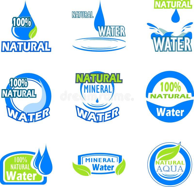 Ensemble de labels de l'eau illustration de vecteur