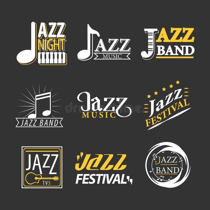 Ensemble de labels de logo de concert de jazz d'isolement sur le fond noir illustration de vecteur