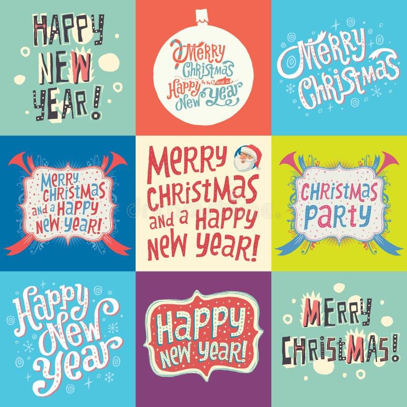 Ensemble de labels de Noël et de nouvelle année illustration stock