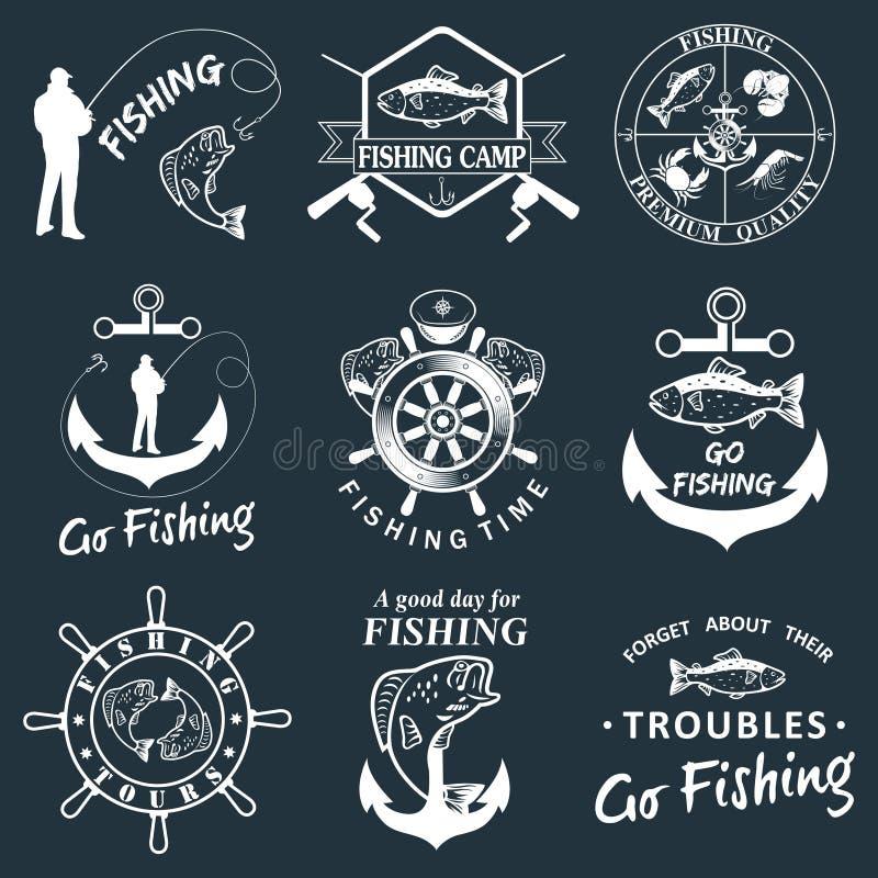 Ensemble de labels de pêche de vintage, insignes illustration libre de droits