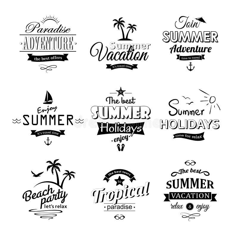 Ensemble de labels de plage sur le blanc illustration de vecteur