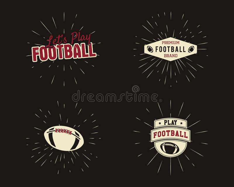 Ensemble de labels de rugby et de football américain de vintage illustration libre de droits