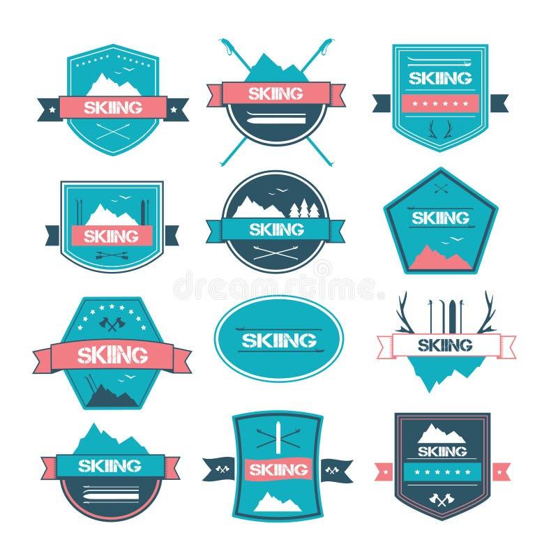 Ensemble de labels de ski de vintage, de logos et d'éléments de conception illustration de vecteur