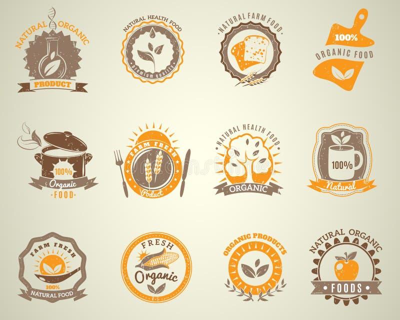 Ensemble de labels de style de vintage d'aliment biologique illustration stock
