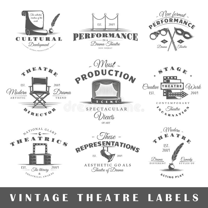 Ensemble de labels de théâtre de vintage images stock