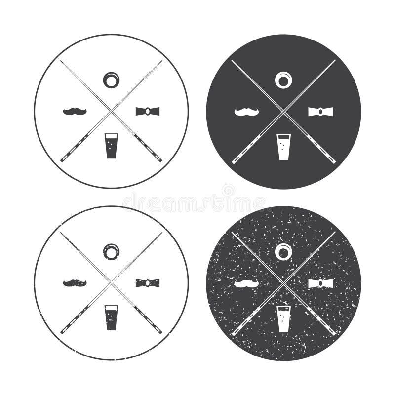 Ensemble de labels de vecteur de billard avec croisé illustration de vecteur