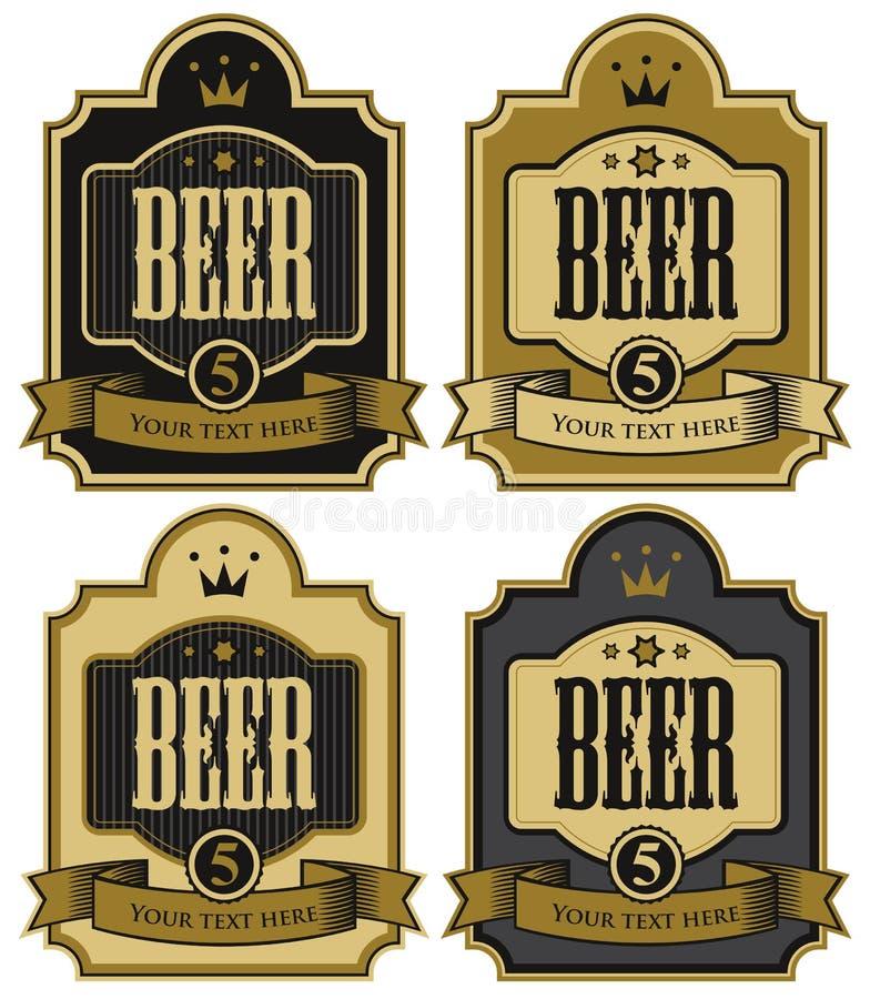 Ensemble de labels de vecteur pour la bière illustration de vecteur