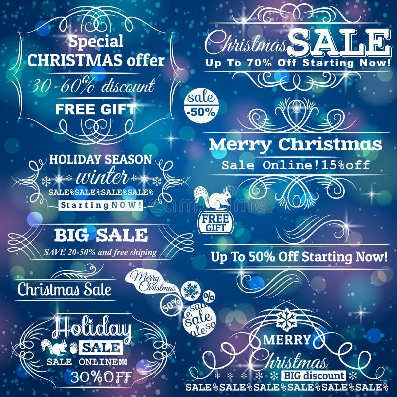 Ensemble de labels de vente au-dessus de fond bleu de Noël illustration stock