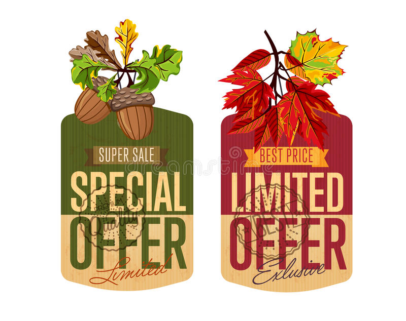 Ensemble de labels de vente d'automne Offre spéciale et limitée illustration stock