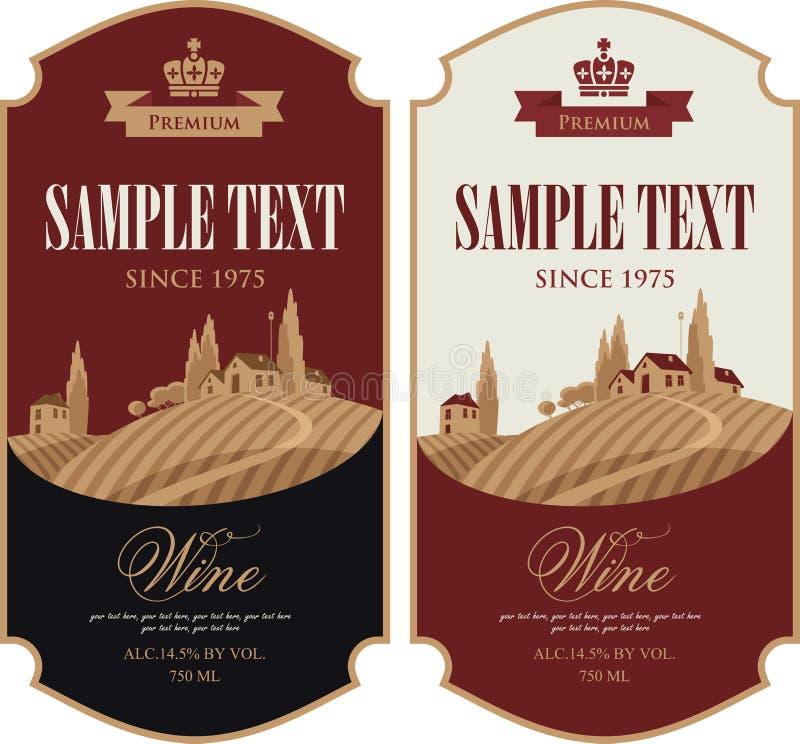 Ensemble de labels de vin illustration libre de droits
