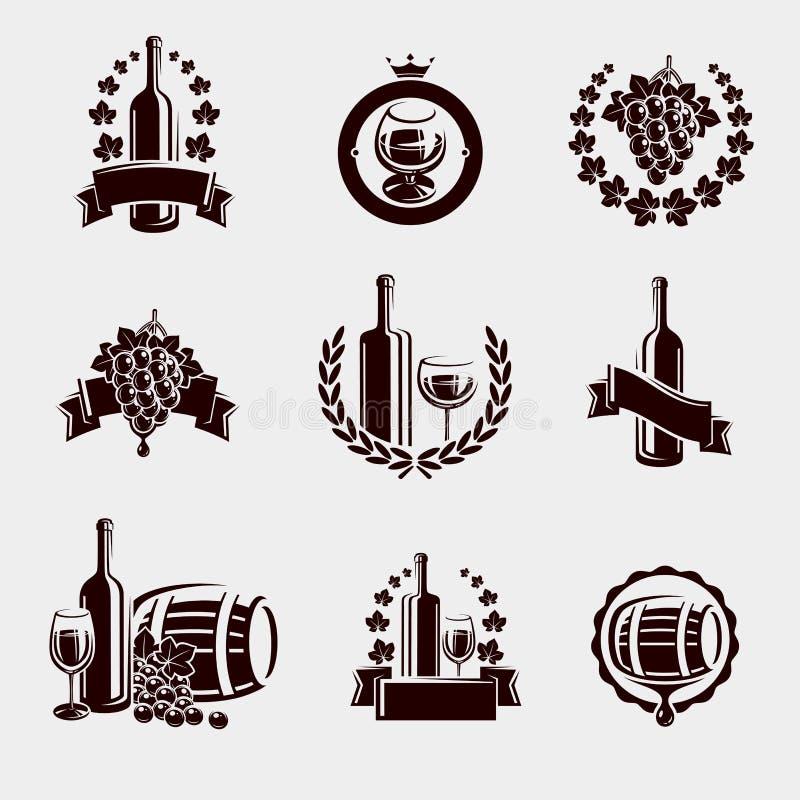 Ensemble de labels de vin Vecteur illustration stock