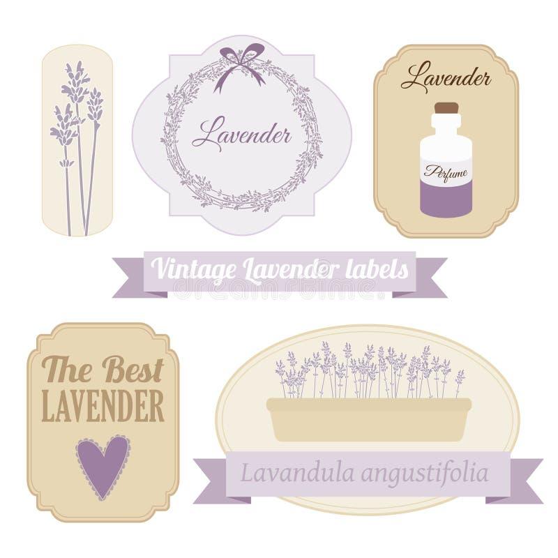 Ensemble de labels de vintage avec la lavande,  illustration stock