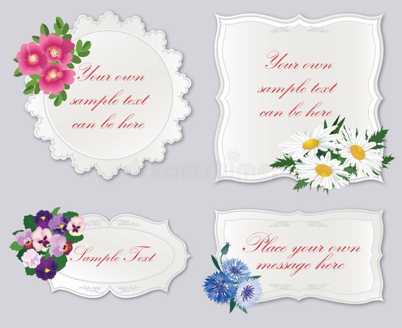 Ensemble de labels de vintage avec le bouquet de fleur illustration libre de droits