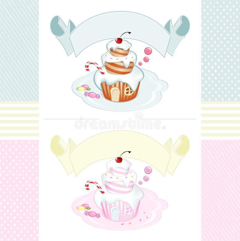 Ensemble de labels de vintage avec un gâteau en forme de maison féerique illustration stock