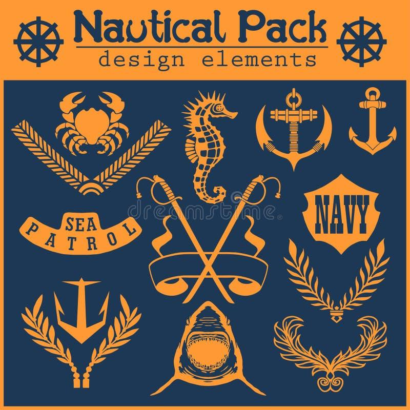 Ensemble de labels de vintage, d'icônes et d'éléments nautiques de conception illustration de vecteur