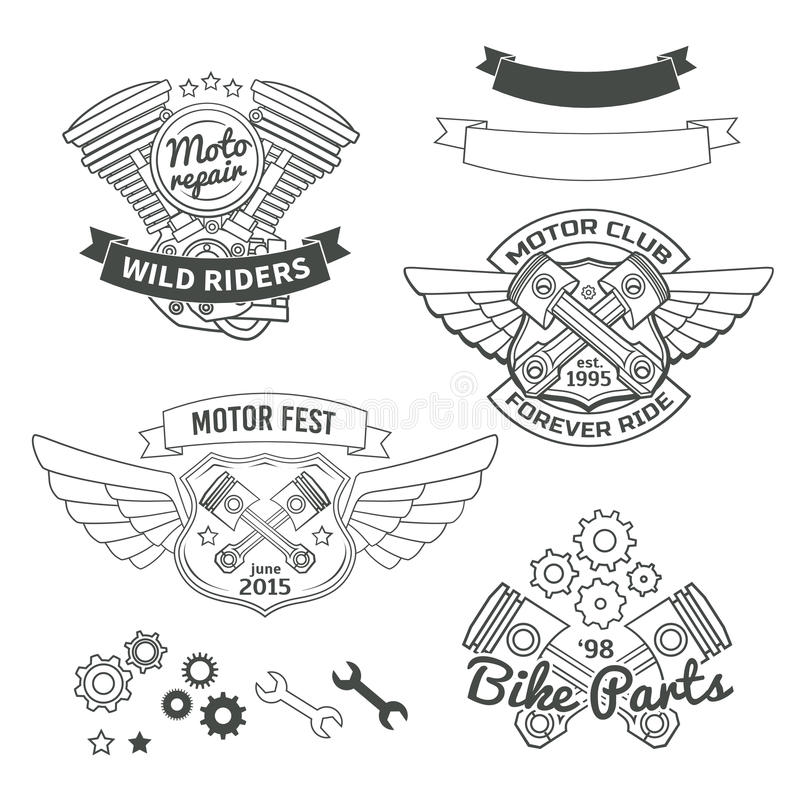 Ensemble de labels de vintage de cycliste, logo de moteur d'oldschool illustration libre de droits