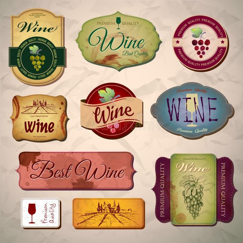 Ensemble de labels de vintage de vin illustration stock