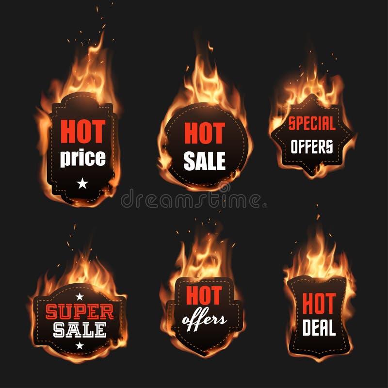 Ensemble de labels du feu illustration de vecteur