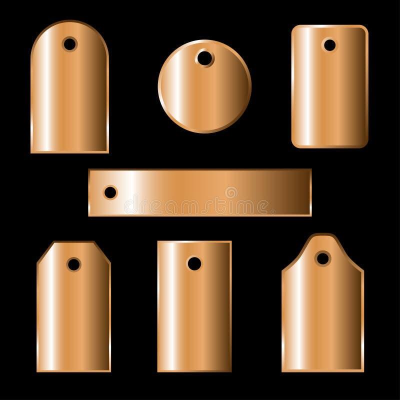 Ensemble de labels en bronze illustration stock