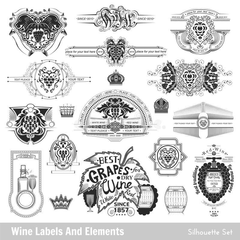 Ensemble de labels et d'éléments de vin D'isolement sur le blanc illustration de vecteur