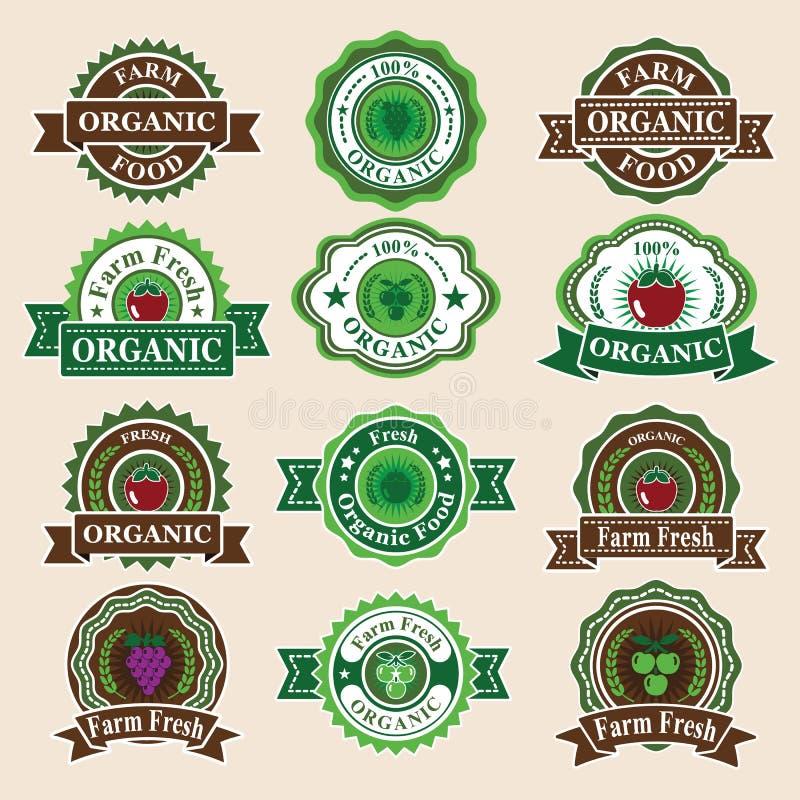 Ensemble de labels et d'éléments organiques frais illustration stock