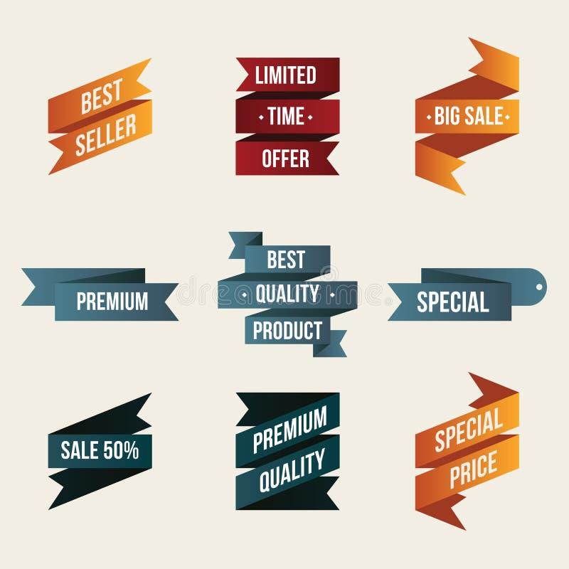 Ensemble de labels et d'autocollants de ruban de promo Élément d'isolement de conception de bannières de vente illustration de vecteur