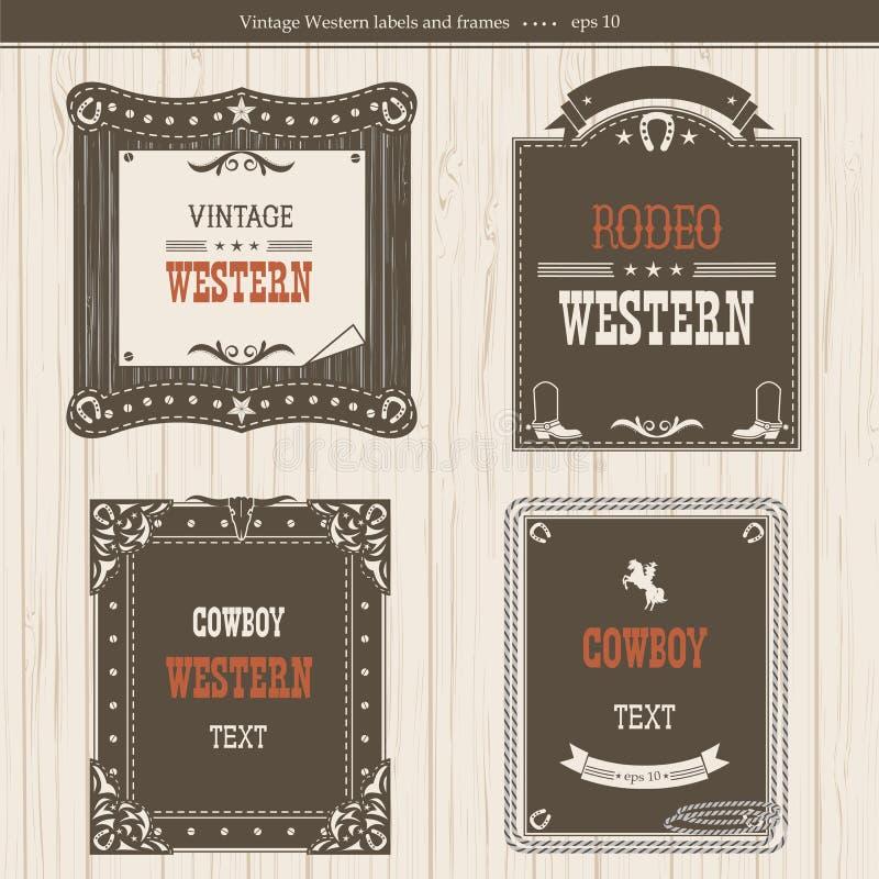 Ensemble de labels et de cadres dans le style occidental pour la conception illustration de vecteur