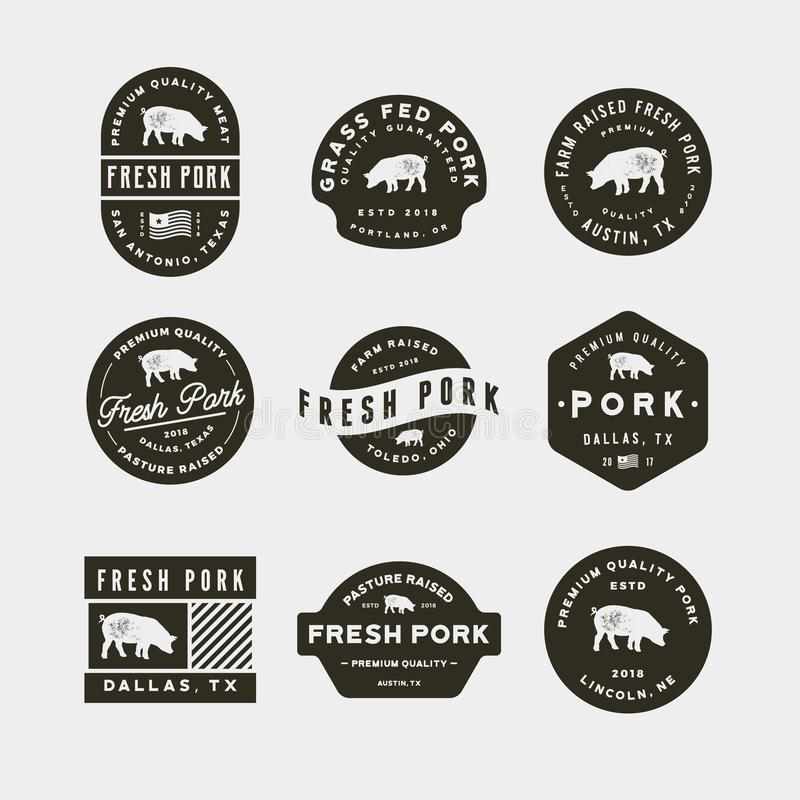 Ensemble de labels frais de la meilleure qualité de porc Illustration de vecteur illustration libre de droits
