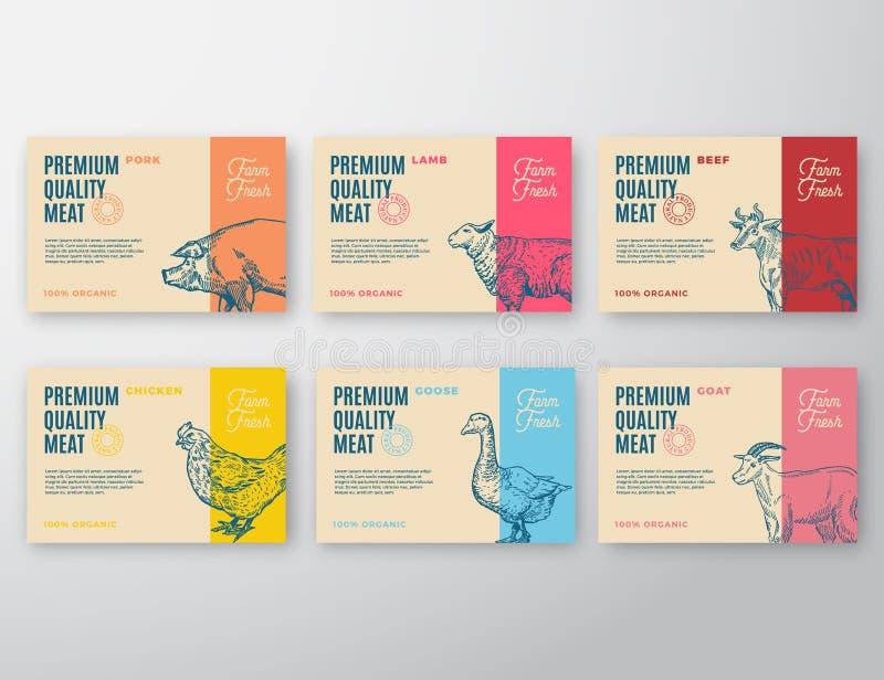 Ensemble de labels de la meilleure qualité de viande et de volaille de qualité Conception ou label d'emballage abstraite de vecte illustration libre de droits