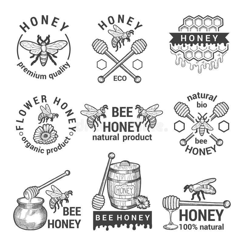 Ensemble de labels monochrome avec du miel, les abeilles et le nid d'abeilles illustration libre de droits
