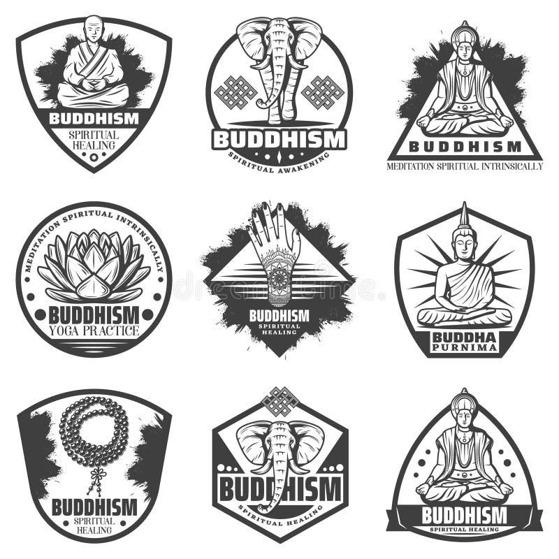 Ensemble de labels monochrome de bouddhisme de vintage illustration stock