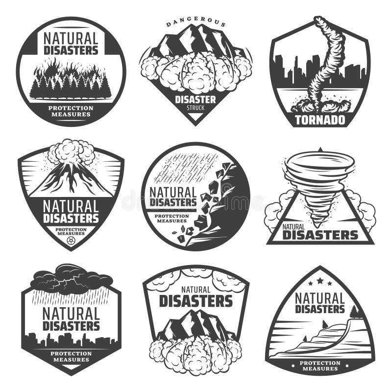 Ensemble de labels monochrome de catastrophe naturelle de vintage illustration stock