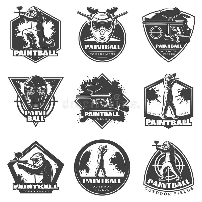 Ensemble de labels monochrome de club de Paintball de vintage illustration de vecteur