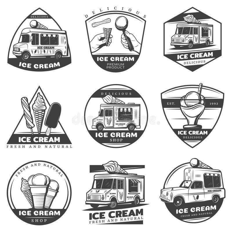 Ensemble de labels monochrome de crème glacée de vintage illustration stock